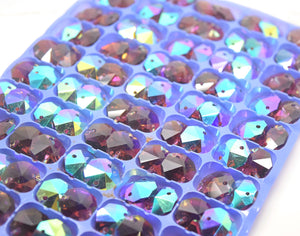 Octagon Glass Beads 14mm - Amethyst AB
