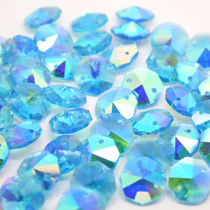 Octagon Glass Beads 14mm - Aquamarine AB