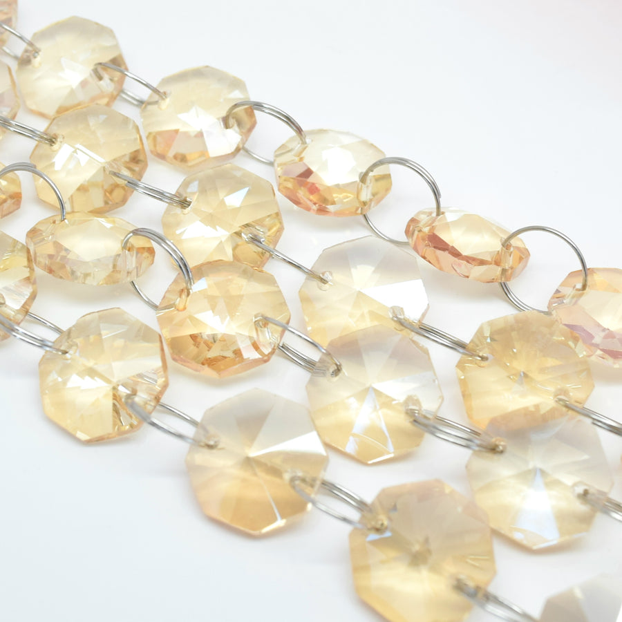 1 Metre Octagon Glass Bead Chain 14mm Champagne - Silver Rings