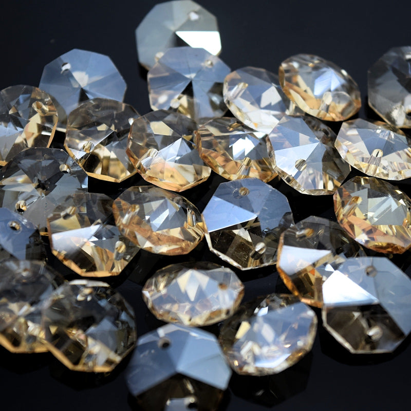 Octagon Glass Beads 14mm - Champagne