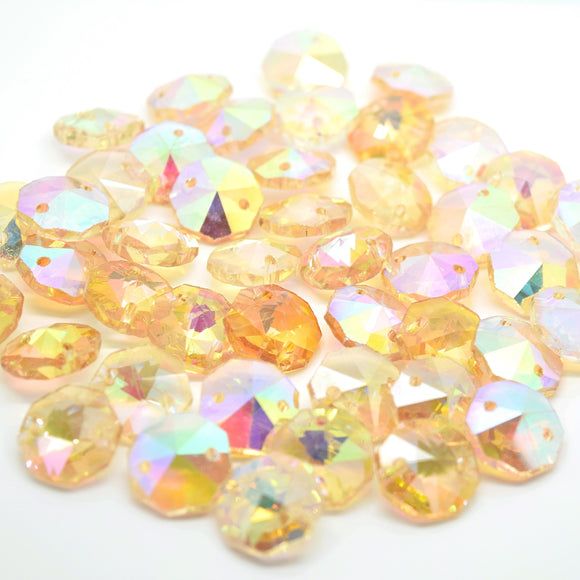 Octagon Glass Beads 14mm - Champagne AB