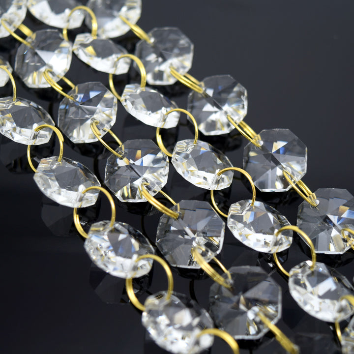 STAR BEADS: 1 Metre Octagon Glass Bead Chain 14mm Clear - Gold Rings - Octagon Glass Beads