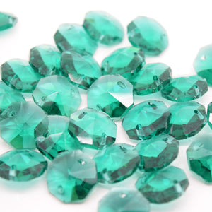 STAR BEADS: OCTAGON GLASS BEADS 14MM - EMERALD - Octagon Glass Beads