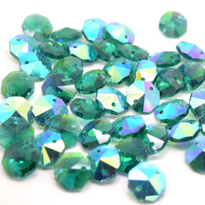 Octagon Glass Beads 14mm - Emerald AB