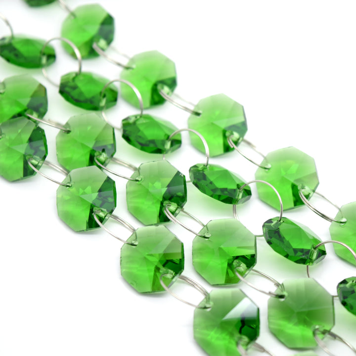 STAR BEADS: 1 Metre Octagon Glass Bead Chain 14mm Green - Silver Rings - Octagon Glass Beads