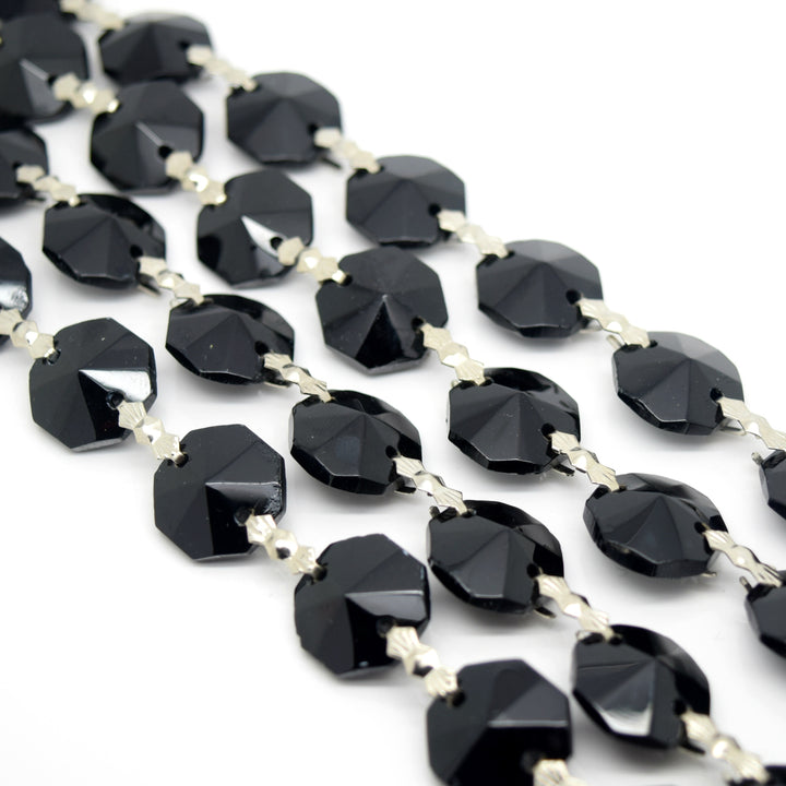 STAR BEADS: 1 Metre Octagon Glass Bead Chain 14mm Jet - Silver Bowtie - Octagon Glass Beads