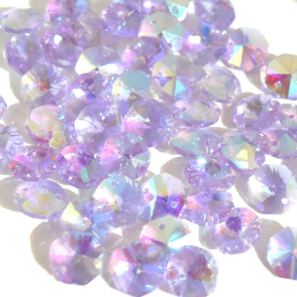 Octagon Glass Beads 14mm - Lilac AB