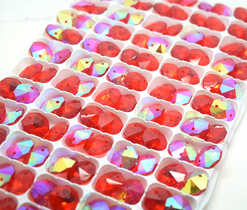 Octagon Glass Beads 14mm - Light Siam AB