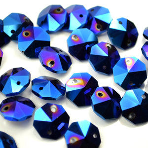 STAR BEADS: OCTAGON GLASS BEADS 14MM - METALLIC BLUE - Octagon Glass Beads