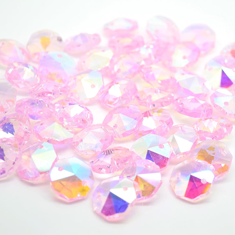Octagon Glass Beads 14mm - Pink AB