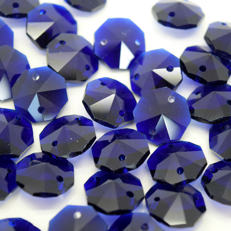 STAR BEADS: OCTAGON GLASS BEADS 14MM - ROYAL BLUE - Octagon Glass Beads