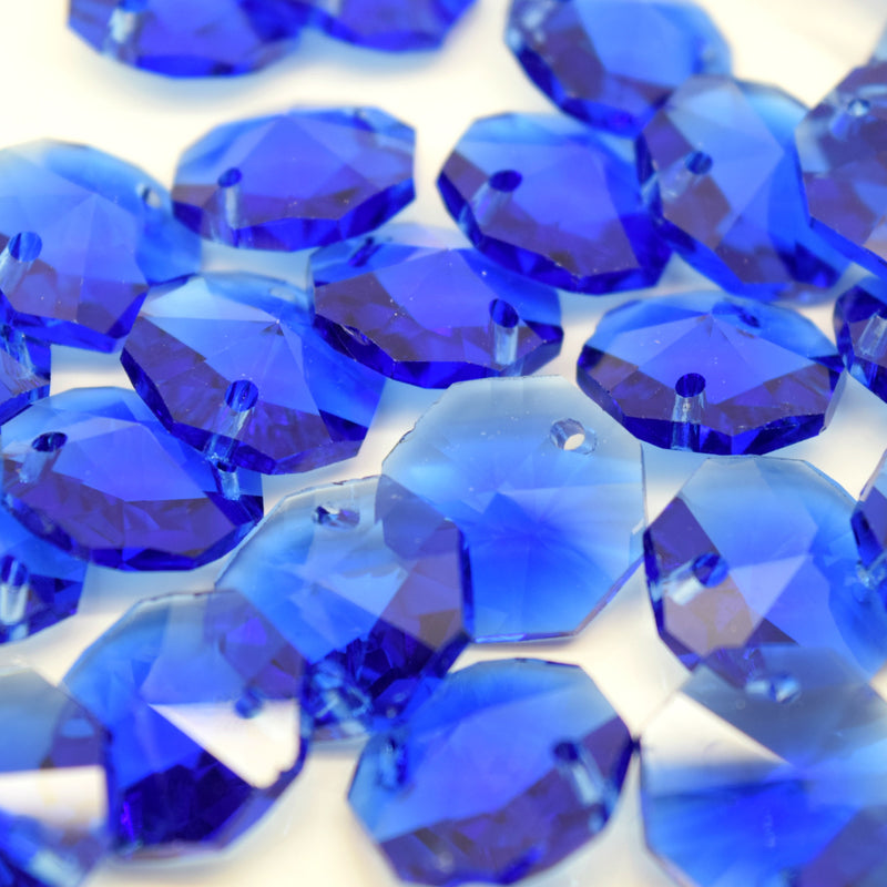 STAR BEADS: OCTAGON GLASS BEADS 14MM - SAPPHIRE - Octagon Glass Beads
