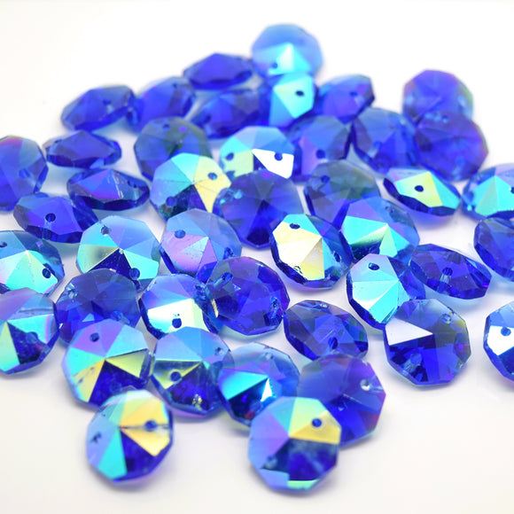 Octagon Glass Beads 14mm - Sapphire AB