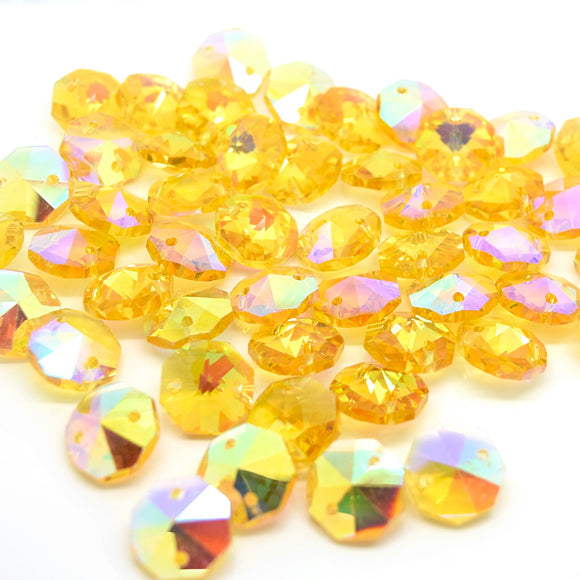 Octagon Glass Beads 14mm - Yellow AB