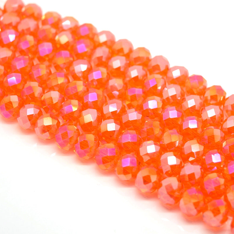 Faceted Rondelle Glass Beads - Orange AB