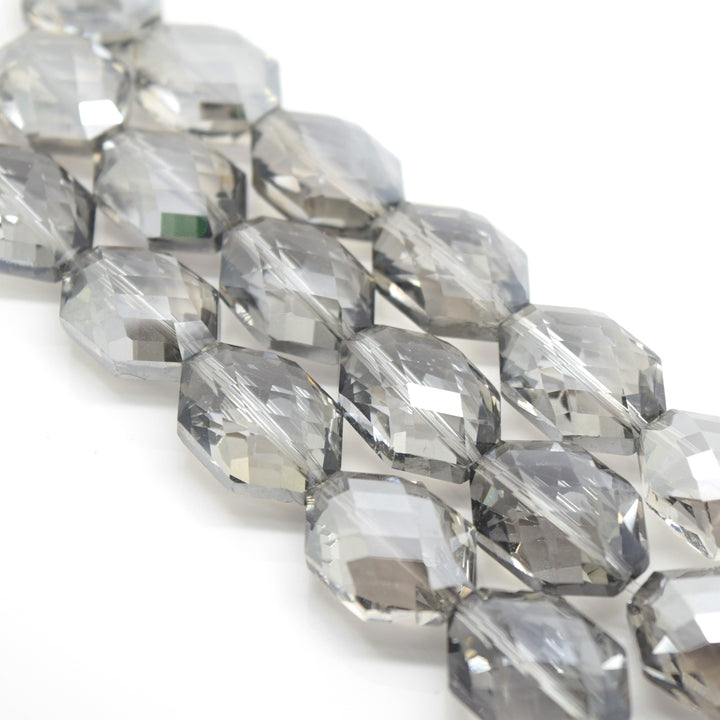 STAR BEADS: 5 x Octagon Faceted Glass Beads 22x16x11mm - Silver Shade - Octagon Beads