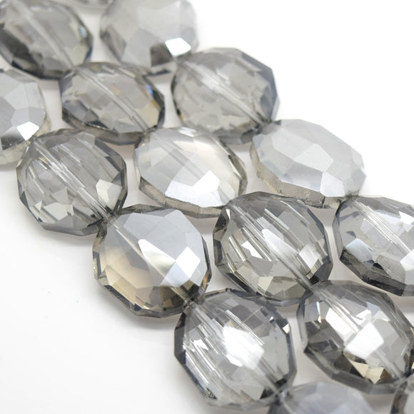 STAR BEADS: 5 X OVAL FACETED GLASS BEADS SILVER SHADE 25X20X11MM - Oval Beads