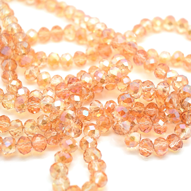 98-100 x Faceted Rondelle Glass Beads 6mm - Peach Champagne AB