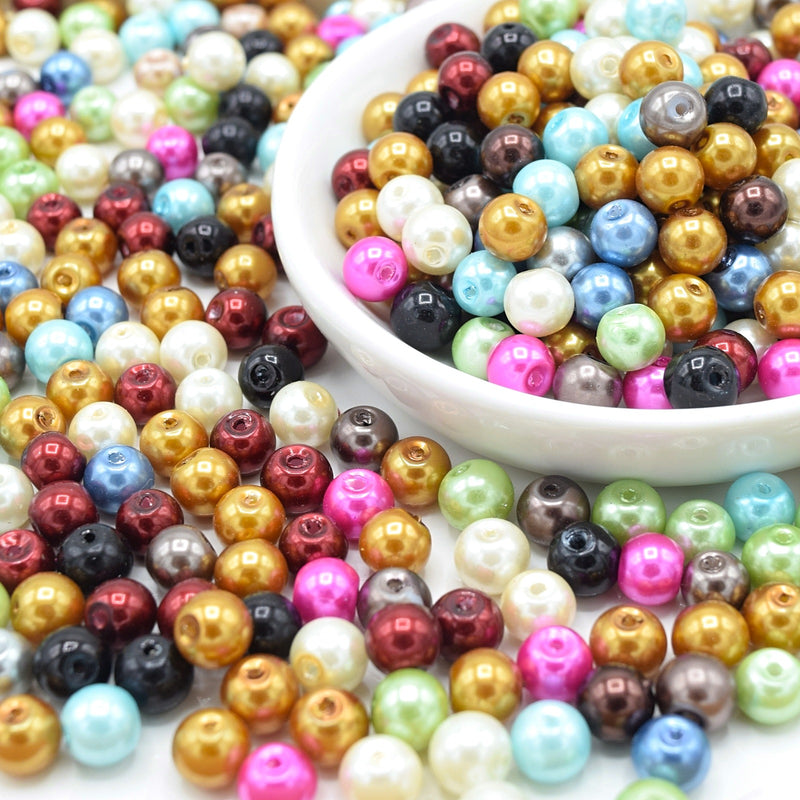 200 x Faux Pearl Glass Beads 8mm - Mixed Colours