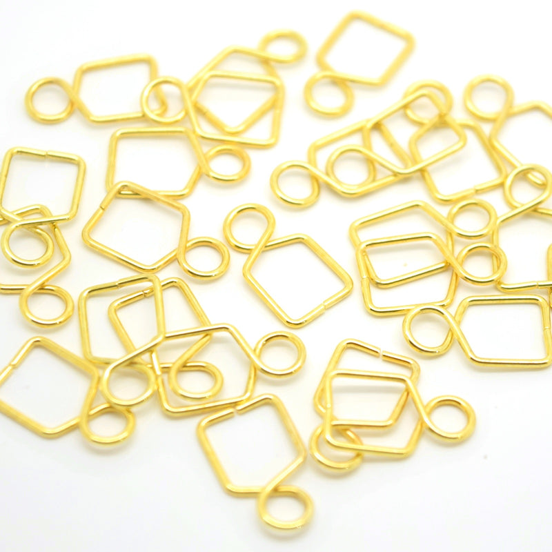 50 x Brass Pendant Pinch Hook Findings 14x8mm - Gold Plated
