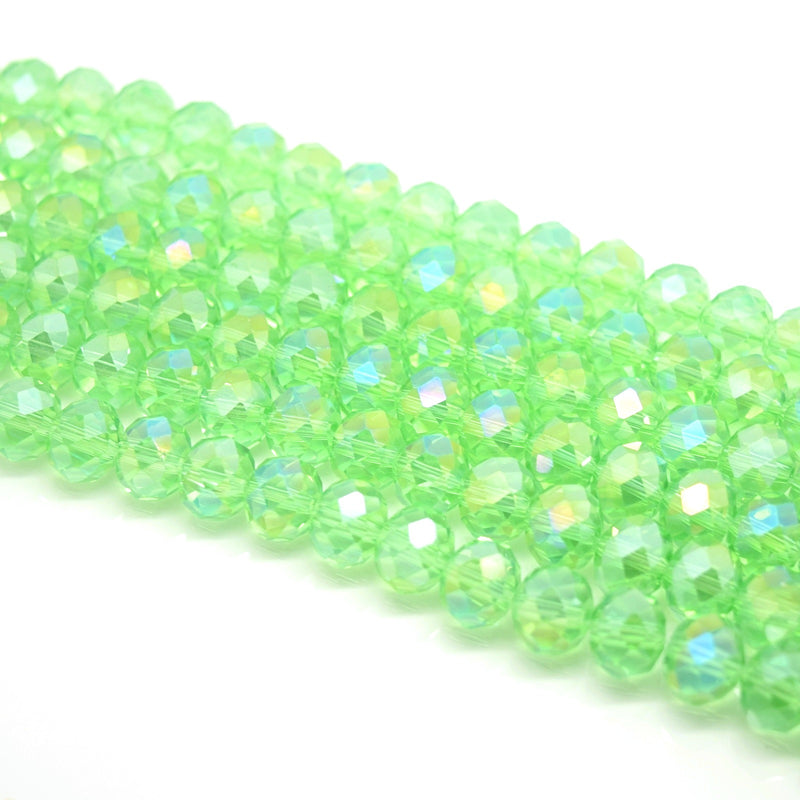 Faceted Rondelle Glass Beads - Peridot AB