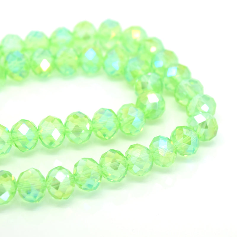 STAR BEADS: FACETED RONDELLE GLASS BEADS - PERIDOT AB - Rondelle Beads