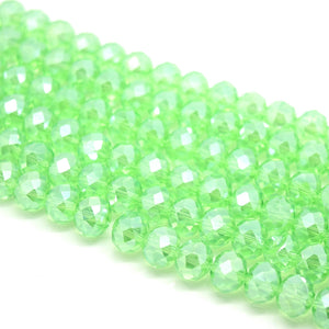 Faceted Rondelle Glass Beads - Peridot Lustre