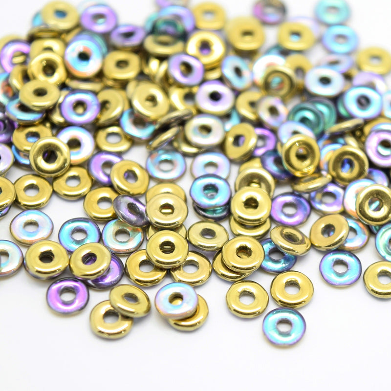 Czech Fire Polished Pressed Glass Round O Beads 4mm (120pcs) - Gold / Multi