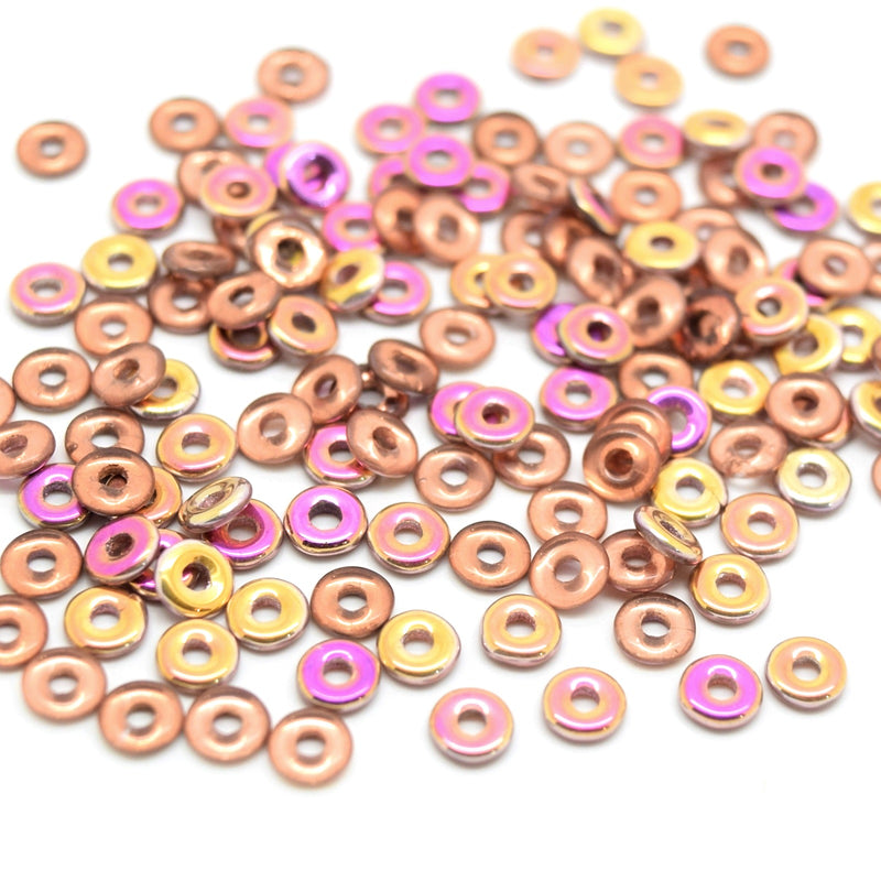 Czech Fire Polished Pressed Glass Round O Beads 4mm (120pcs) - Gold / Pink / Peach