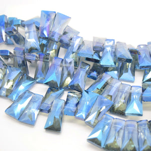 STAR BEADS: 10 x Pyramid Faceted Glass Beads 20x7x11mm - Grey / Metallic Blue - Pyramid Beads