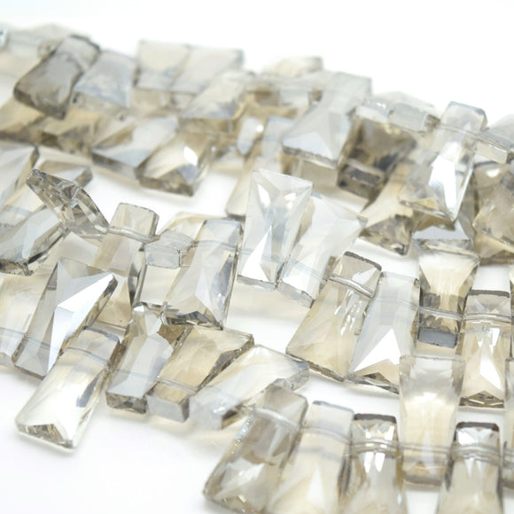 STAR BEADS: 10 x Pyramid Faceted Glass Beads 20x7x11mm - Silver Shade - Pyramid Beads