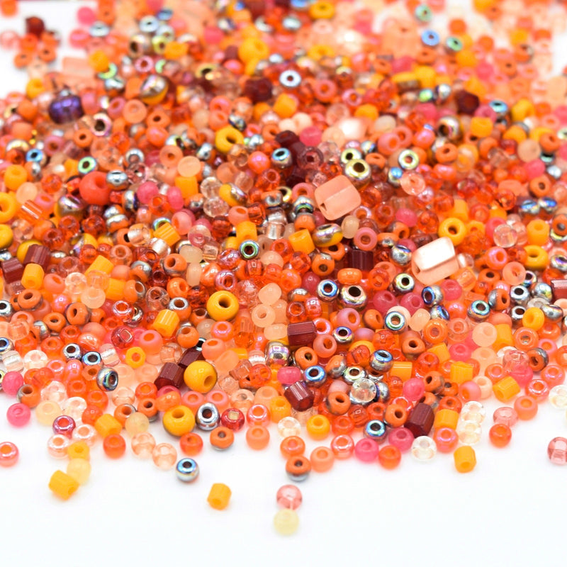 Preciosa Rocailles Czech Glass Seed Beads (40g) - Orange Mix