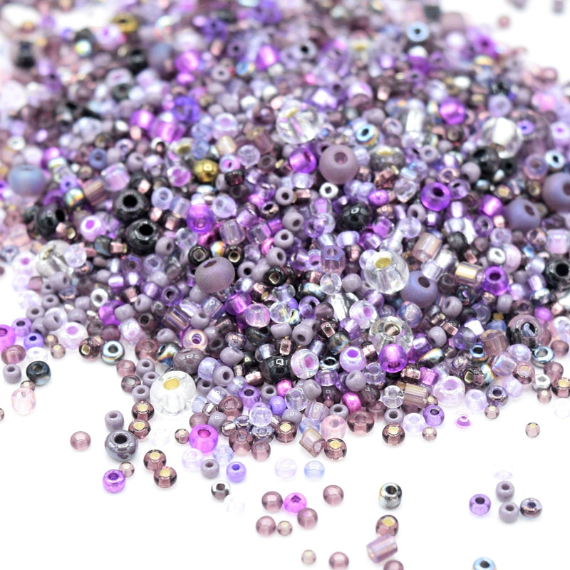Preciosa Rocailles Czech Glass Seed Beads (40g) - Purple Mix