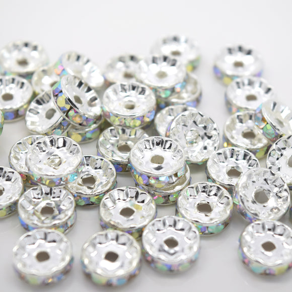 STAR BEADS: GLASS RHINESTONE ROUND SPACER BEADS - STRAIGHT EDGE / SILVER PLATED AB - Rhinestone Beads