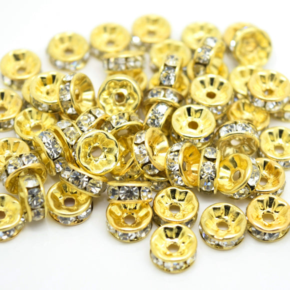 Glass Rhinestone Round Spacer Beads - Straight Edge / Gold Plated