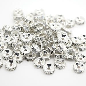 Glass Rhinestone Round Spacer Beads - Straight Edge / Silver Plated