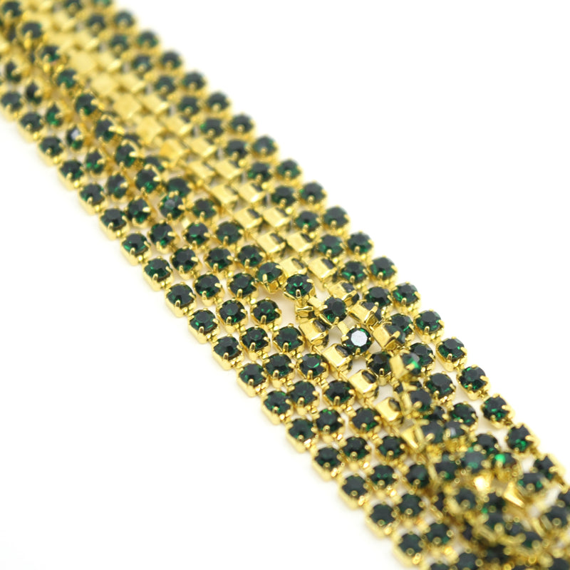 STAR BEADS: 1m Rhinestone Chains 2-2.1mm - Emerald / Gold Plated - RHINESTONE CHAIN