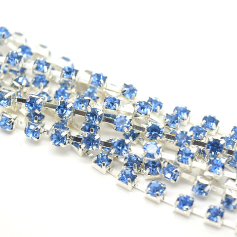 1 METRE DIAMONTE RHINESTONE CRYSTAL CHAIN SILVER PLATED 3MM - ICE BLUE
