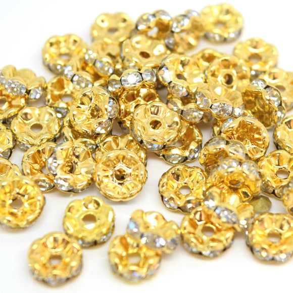 STAR BEADS: GLASS RHINESTONE ROUND SPACER BEADS - WAVY EDGE / GOLD PLATED - Rhinestone Beads