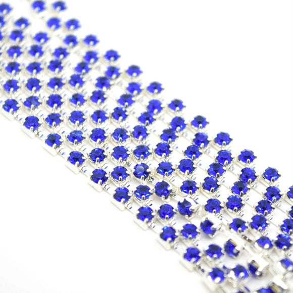 STAR BEADS: 1m Rhinestone Chains 2.80-3mm - Royal Blue / Silver Plated - RHINESTONE CHAIN