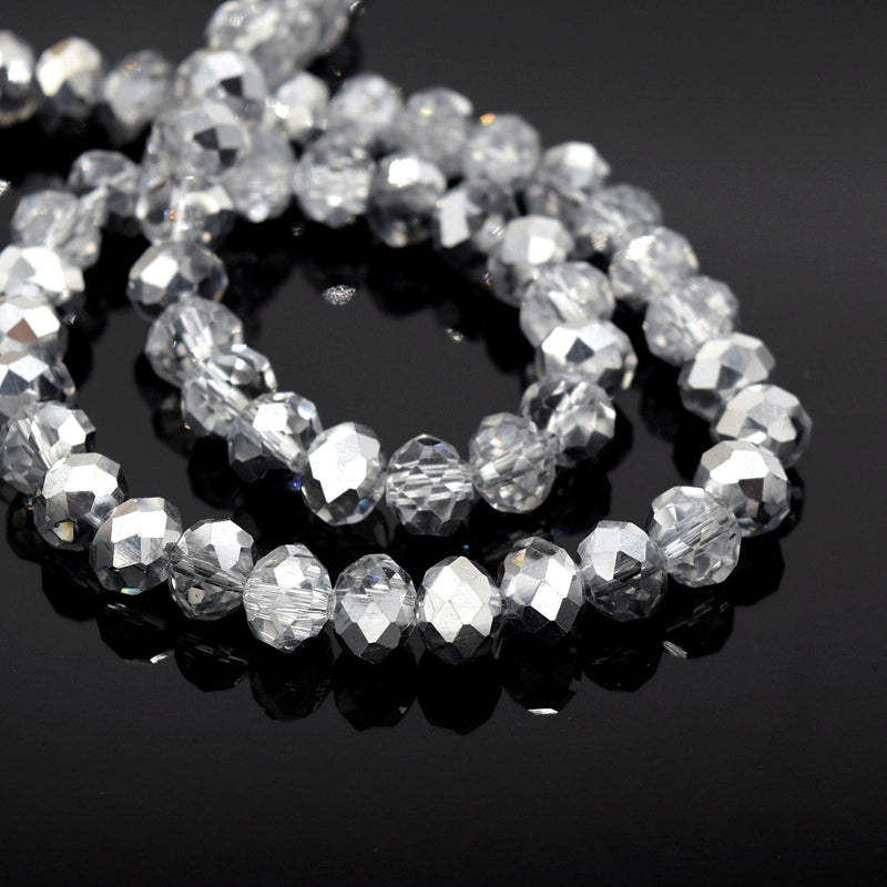 Faceted Rondelle Glass Beads - Clear / Metallic Silver