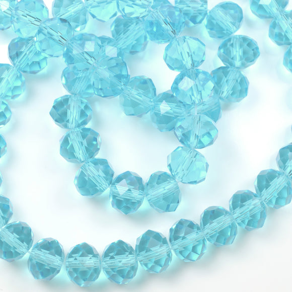 STAR BEADS: FACETED RONDELLE GLASS BEADS - LIGHT AQUAMARINE - Rondelle Beads