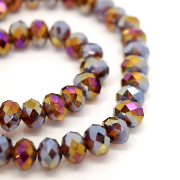 STAR BEADS: FACETED RONDELLE GLASS BEADS - AMBER AB - Rondelle Beads