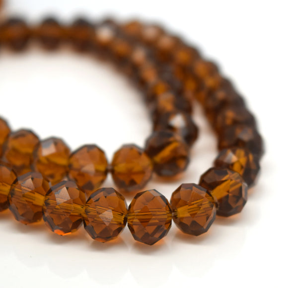 STAR BEADS: FACETED RONDELLE GLASS BEADS - AMBER - Rondelle Beads