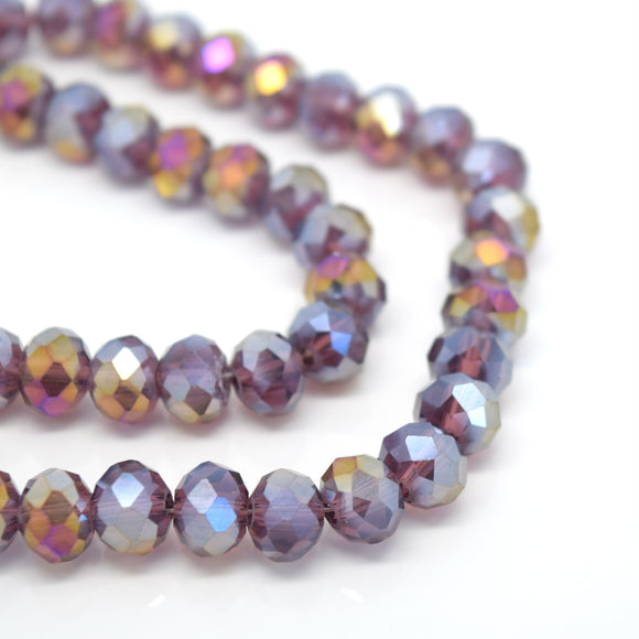STAR BEADS: FACETED RONDELLE GLASS BEADS - AMETHYST AB - Rondelle Beads