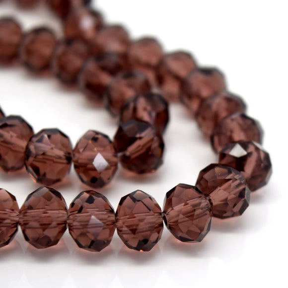 STAR BEADS: FACETED RONDELLE GLASS BEADS - AMETHYST - Rondelle Beads