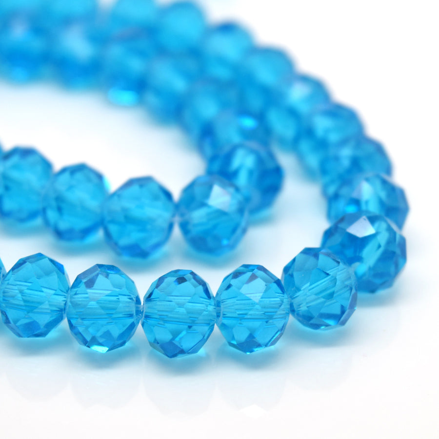 STAR BEADS: FACETED RONDELLE GLASS BEADS - AQUAMARINE - Rondelle Beads