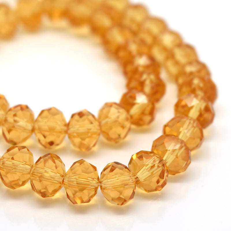 STAR BEADS: FACETED RONDELLE GLASS BEADS - CHAMPAGNE - Rondelle Beads