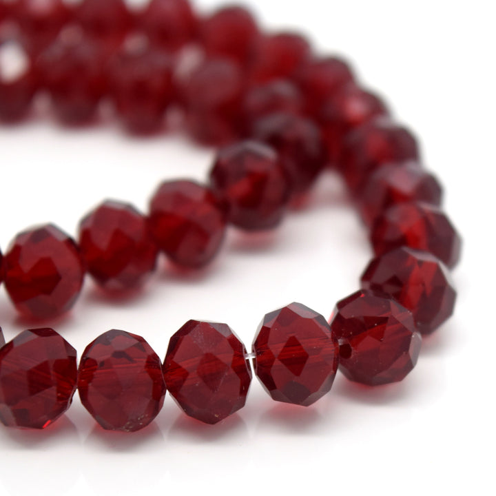 STAR BEADS: FACETED RONDELLE GLASS BEADS - DARK SIAM - Rondelle Beads