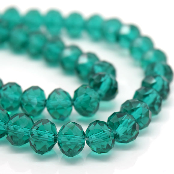 STAR BEADS: FACETED RONDELLE GLASS BEADS - EMERALD - Rondelle Beads